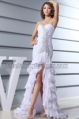 White Strapless Mermaid Evening Formal Prom Dresses