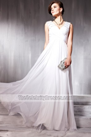 White V-Neck Sleeveless Prom Gown Evening Formal Dresses