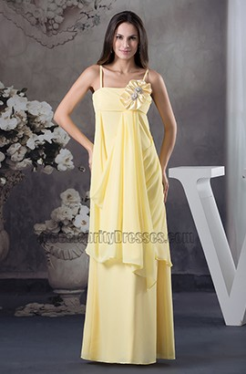 Long Yellow Chiffon Floor Length Bridesmaid Prom Dresses