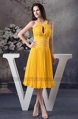 Yellow Knee Length Halter Chiffon Cocktail Bridesmaid Dresses