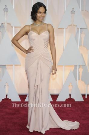 Zoe Saldanaソフトピンクフォーマルイブニングドレス2015オスカーレッドカーペット