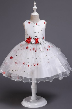 Ball-Gown Organza Flower Girl Dress With Applique