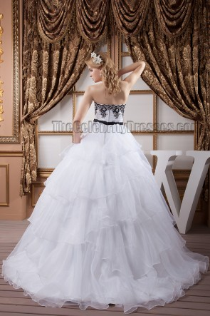 Ball Gown Strapless Black Embroidered Sweep/Brush Train Wedding Dress