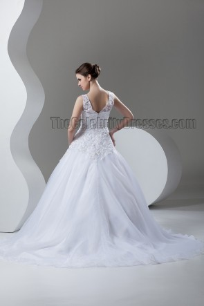 Ball Gown V-Neck Chapel Train Wedding Dress With Beading