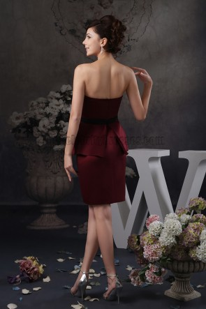 Beaded Strapless Burgundy Cocktail Party Graduation Dresses