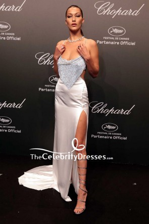 Bella Hadid White Silver Thigh-high Slit Sexy Evening Dress Chopard Space Party