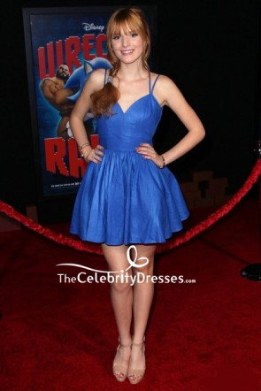 Bella Thorne Blue Spaghetti Straps Cocktail Party Dress
