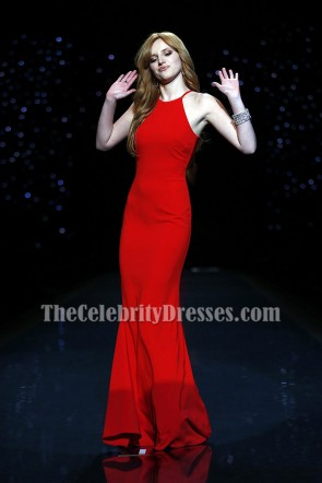 Bella Thorne のセクシーな赤いシースのイブニングウエディングドレスの心臓の真実2014