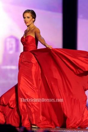 Betty Cantrell ベティキャントレル レッドストラップレスのイブニングウエディングドレスミスアメリカ2015