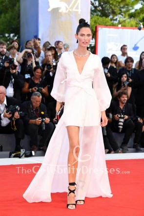 Bianca Balti White High Low Wrap Evenign Dress With Sleeves 2017 Venice Film Festival