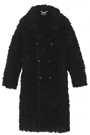 Hailey Baldwin Relaxed Fit Black Button Front Fur Coat