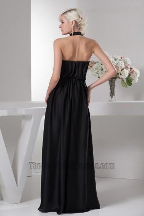 Celebrity Inspired Black A-Line Halter Formal Dress Evening Prom Gown