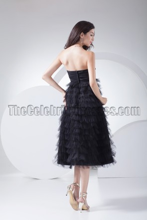 Celebrity Inspired Black Tulle Prom Gown Cocktail Party Dress