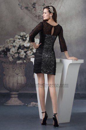 Black Lace Long Sleeve Cocktail Party Graduation Dresses