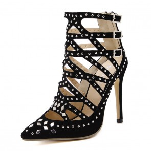 Black Rivet Hollow Suede Women's Sandals Pointed Toe Prom Shoes