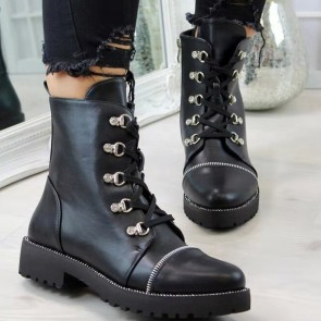 Black Round Toe Lace-up Combat Boots With Zipper