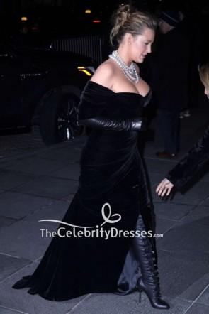 Blake Lively Black Velvet Off-the-shoulder Evening Dress TCD8842