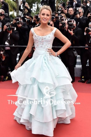 Blake Lively Pregnant Princess Ice Blue Beaded Ball Gown 2016 Cannes Film Festival Red Carpet