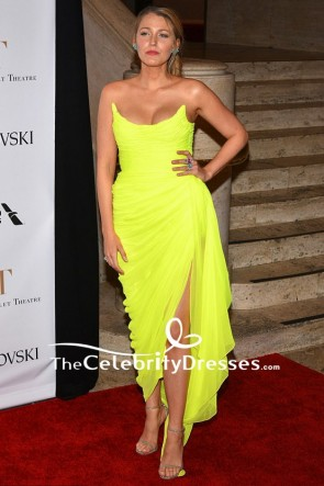 Blake Lively Strapless Chiffon Thigh-high Split Backless American Ballet Theatre Spring 2017