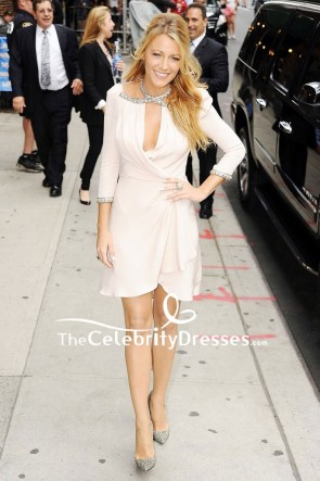 Blake Lively White Cut Out Cocktail Dress With Sleeves Late Show With David Letterman