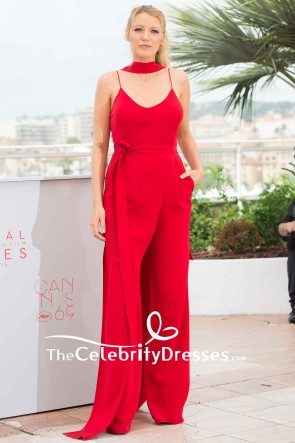 Blake Lively Red Jumpsuit Spaghetti Straps V-neck Belt Palais des Festival in Cannes 2019