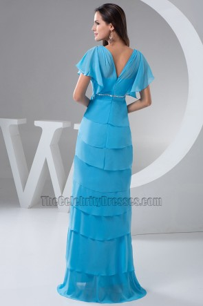 Discount Blue Chiffon Full Length Formal Dress Prom Gown