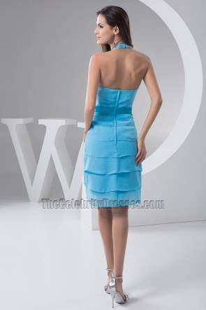 Chic Blue Halter Chiffon Cocktail Graduation Party Dresses