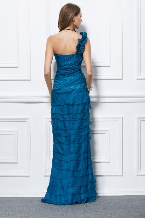 Blue One Shoulder Chiffon Evening Dress Formal Gown TCDBF439