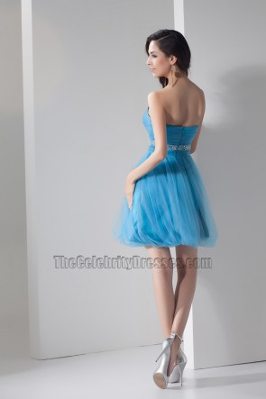 Cute Blue Strapless Strapless Party Homecoming Dresses