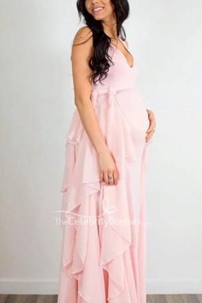 写真撮影のためのシックな赤面ピンクのノースリーブVネックマタニティドレス