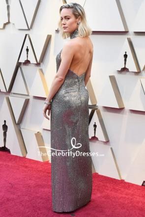 Brie Larson Halter Sequined Thigh-high Slit Evening Dress OSCARS 2019 TCD8312