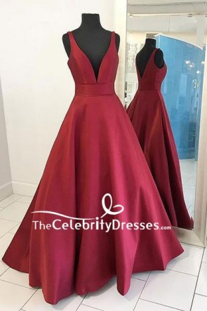 Burgundy Deep V-neck Ball Gown For Sale