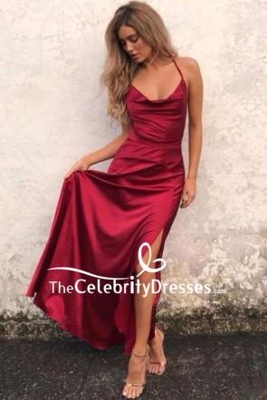 Burgundy Sexy Slip Prom Dress