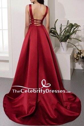 Burgundy Sleeveless Deep V-neck Ball Gown TCDFD8597