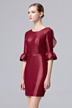 Women's Fashion Short Mini Dress Girls Deep Red Party Dresses TCDC31381