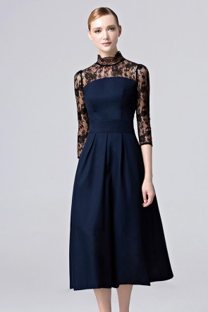 Girls Dark Navy Lace Party Dress Tea Length Cocktail Formal Prom Dress 3