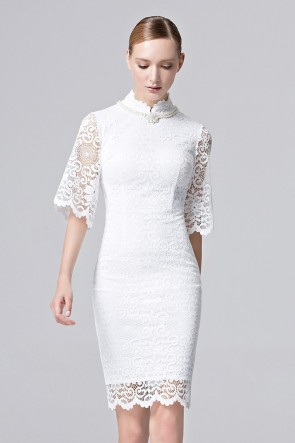 Women Girls Beauty Lace Prom Gown White Pink Half Sleeves Evening Dress 1