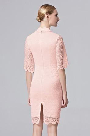 Women Girls Beauty Party Dress White Pink Half Sleeves Short Mini Dress TCDC31360