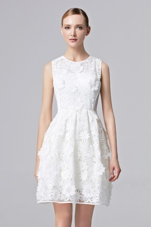 Lady Girls White Flower Party Dress Short Mini Cocktail Prom Dress  1