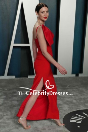 Caitriona Balfe Red Thigh-high Slit Formal Dress 2020 Vanity Fair Oscar Party TCD8863