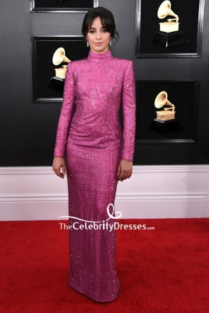 Camila Cabello Fuchsia Sequined Evening Dress With Long Sleeves 2019 Grammys