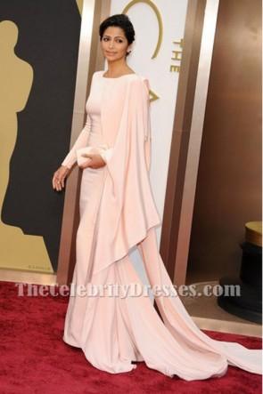 Camila Alvesエレガントなピンクのロングイブニングウエディングドレスオスカー2014