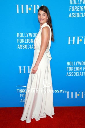 Camila Morrone White One Sleeve Shirtdress 2019 HFPA Grants Banquet TCD8611