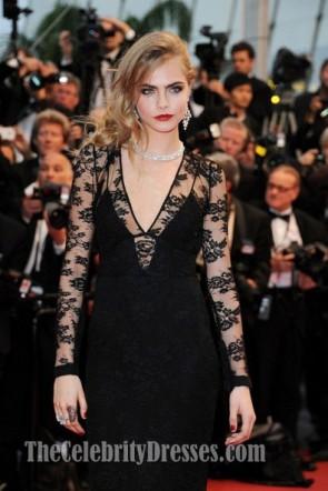 Cara Delevingne黒のイブニングドレスカンヌ映画祭開会式