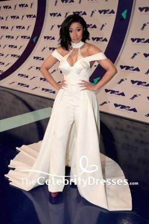 Cardi B Ivory Halter Off-the-shoulder Evening Dress Jumpsuit 2017 MTV Video Music Awards