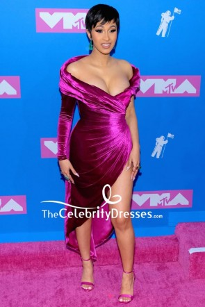 Cardi B Purple Slip Off-the-shoulder Cocktail Dress With Long Sleeves 2018 MTV VMAs