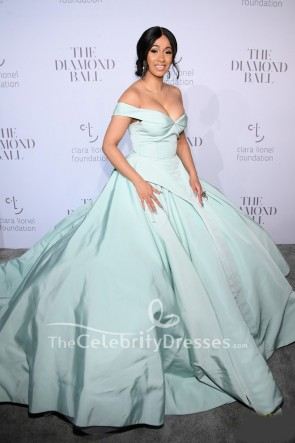 Cardi B Mint Off-the-shoulder Ball Gown Dress 2017 Rihanna's Diamond Ball
