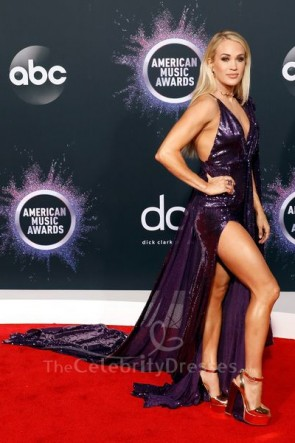 Carrie Underwood Purple V-neck Sequin High Split Prom Dress 2019 American Music Awards TCD8779