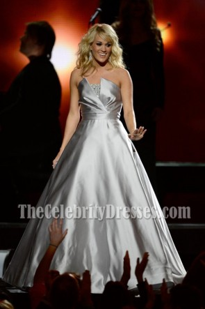 Carrie Underwood Silver Strapless Ball Gown 2013 Grammy Awards