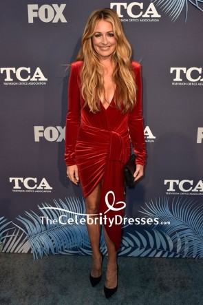 Cat Deeley Burgundy Plunging Cocktail Dress Fox Summer TCA 2018 All-Star Party